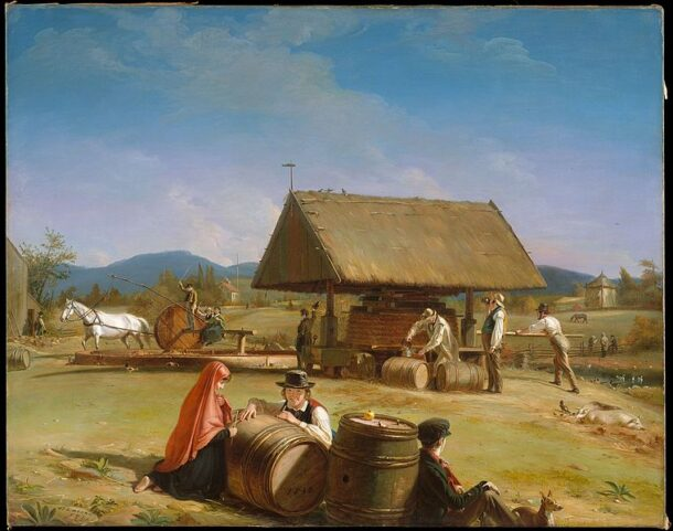 Painting of colonial-era cider making